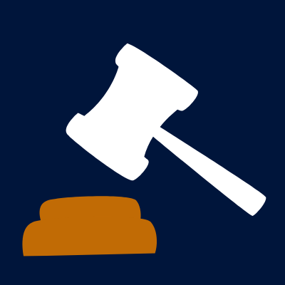 Navy blue square contains a graphic of a white gavel over an orange piece of wood.