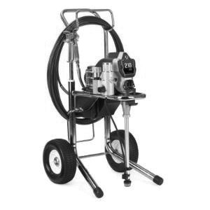 Photo of an airless paint sprayer. It is on two wheels and has a long cord.