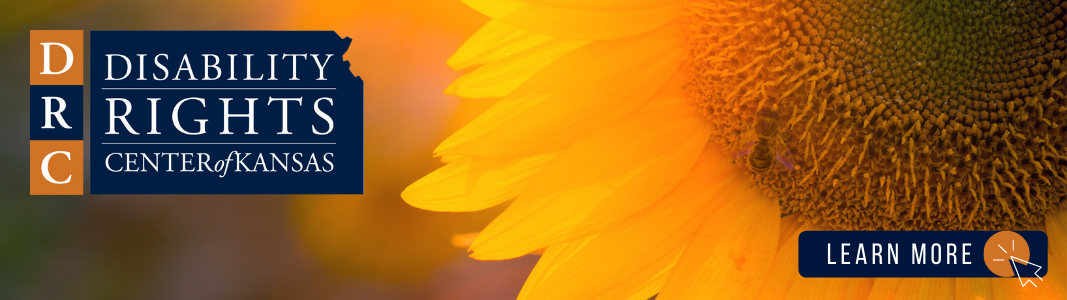 """Background is a close up image of a sunflower and a blurred background. To the right is an image of the Disability Rights Center of Kansas' logo - it is a navy blue state of Kansas with white text reading """"Disability Rights Center of Kansas."""" In the bottom right of the image is a dark blue rectangle with white text that reads """"LEARN MORE"""" and a small graphic of a computer mouse."""