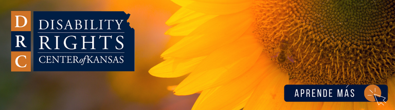 """Background is a close up image of a sunflower and a blurred background. To the right is an image of the Disability Rights Center of Kansas' logo - it is a navy blue state of Kansas with white text reading """"Disability Rights Center of Kansas."""" In the bottom right of the image is a dark blue rectangle with white text that reads """"APRENDE MAS"""" and a small graphic of a computer mouse."""