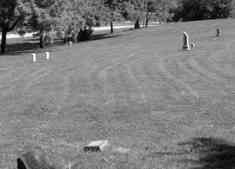 Black and white image of a large cemetery lawn. Less than 10 gravestones are visible - the image is mostly mowed grass.