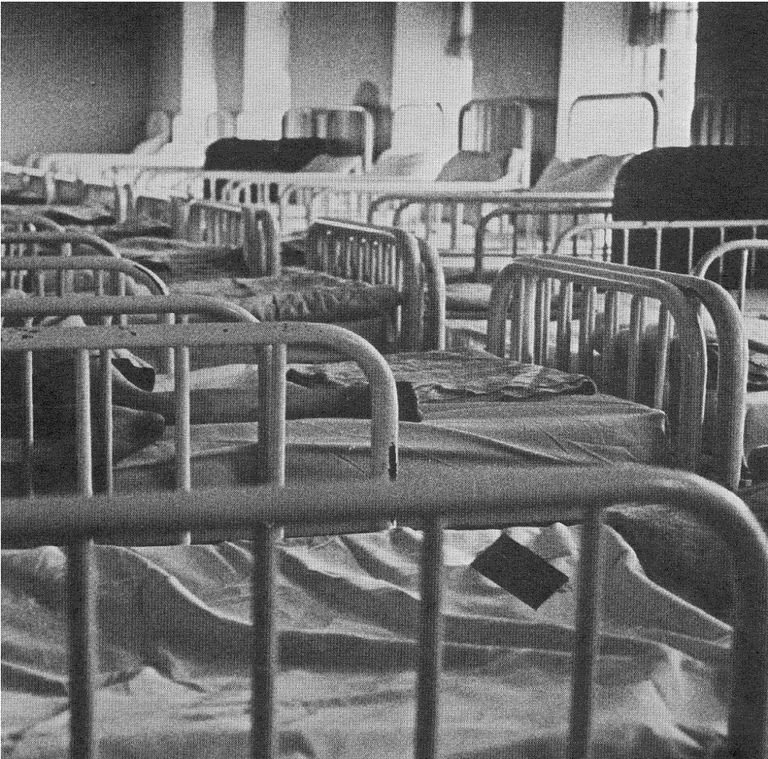 Black and white image of around 20 empty institution beds. They have metal bedframes and are dressed with sheets.