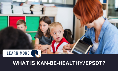 """Image of  a classroom with four children. To the right is a young White boy with Down Syndrome in a white shirt and red vest. He is looking at a woman playing guitar. She has short, red hair and a blue button up over a white shirt. Below the image is a navy blue rectangle with white text reading: """"WHAT IS AN IEP?"""" Above the white text is a white graphic with navy blue text that reads """"LEARN MORE"""" and an orange icon of a computer mouse inside of a navy blue circle."""