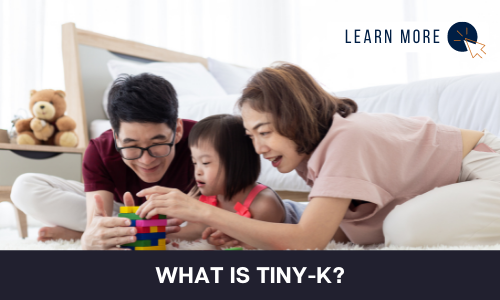 """Image of a toddler with developmental disability and two adults. The pair are playing with the toddler and have toy blocks on the floor. Below the image is a black box with white text reading """"WHAT IS TINY-K"""".  In the top right hand corner is a white box with dark blue text reading """"LEARN MORE"""" with and orange and blue cursor icon graphic to the right."""