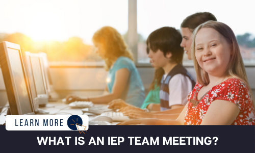 """Image of a young girl with a developmental disability in a red shirt smiling at the camera. She is sitting in a computer lab in front of a desktop with other children besides her also sitting in from of computers.  Below the image is a black box with white text reading """"WHAT IS AN IEP MEETING?"""".  To the left is a white box with dark blue text reading """"LEARN MORE"""" with and orange and blue cursor icon graphic to the right."""