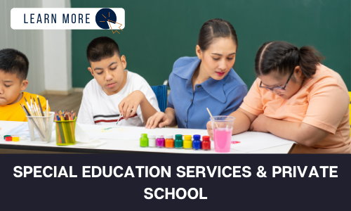 """Image of a group of three students with developmental disabilities and an instructor. There are art supplies on the table and one of the students is painting while the instructor looks over her shoulder. Another student is painting and the third student is looking down and cut out of the image. Below the image is a black box with white text reading """"SPECIAL EDUCATION SERVICES & PRIVATE SCHOOL"""". In the top left hand corner is a white box with dark blue text reading """"LEARN MORE"""" with and orange and blue cursor icon graphic to the right."""